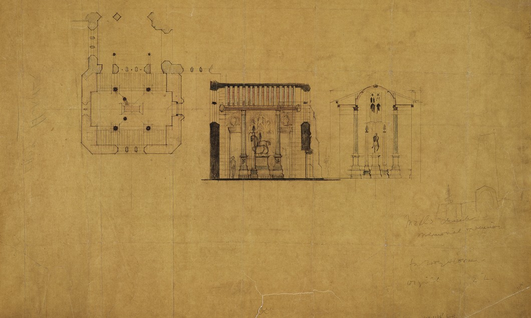 Unexecuted design for a memorial chapel to Edward Horner at the Church of St Andrew, Mells