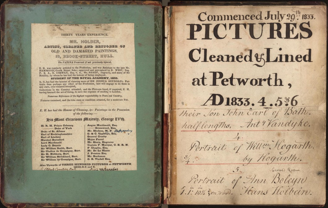 'Pictures Cleaned and Lined' at Petworth 'commenced July 29th 1833'