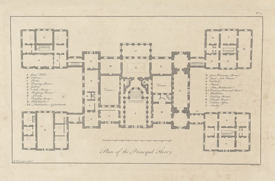 Plan of the Principal Floor of Holkham, from The plans, elevations and sections of Holkham in Norfolk, the seat of the late Earl of Leicester (London: 1773)