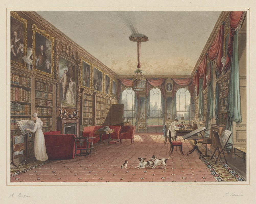 Great Library, Cassiobury, from John Britton, The History and Description, with Graphic Illustrations, of Cassiobury Park, Hertfordshire: The Seat of the Earl of Essex (London, 1837), plate XIII