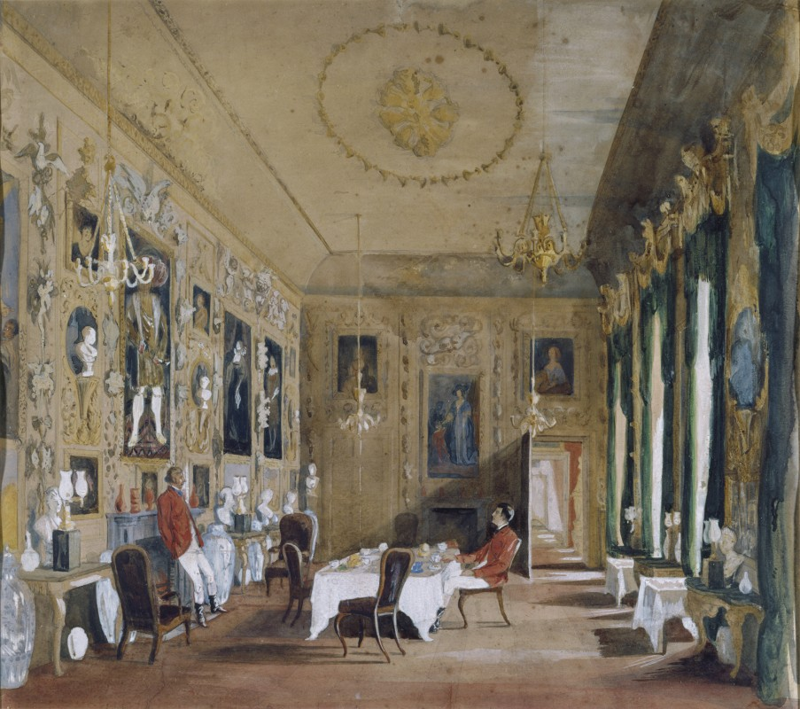The Hon. Mrs Wyndham, The Carved Room, Petworth House, George Wyndham, 1st Lord Leconfield and Sir Reginald Graham at a hunting breakfast