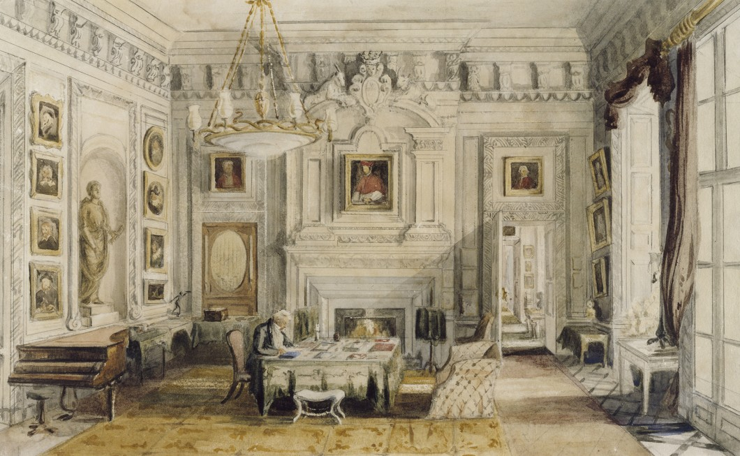 The Hon. Mrs Wyndham, The Marble Hall, Petworth, George Wyndham, 1st Lord Leconfield seated at his Desk