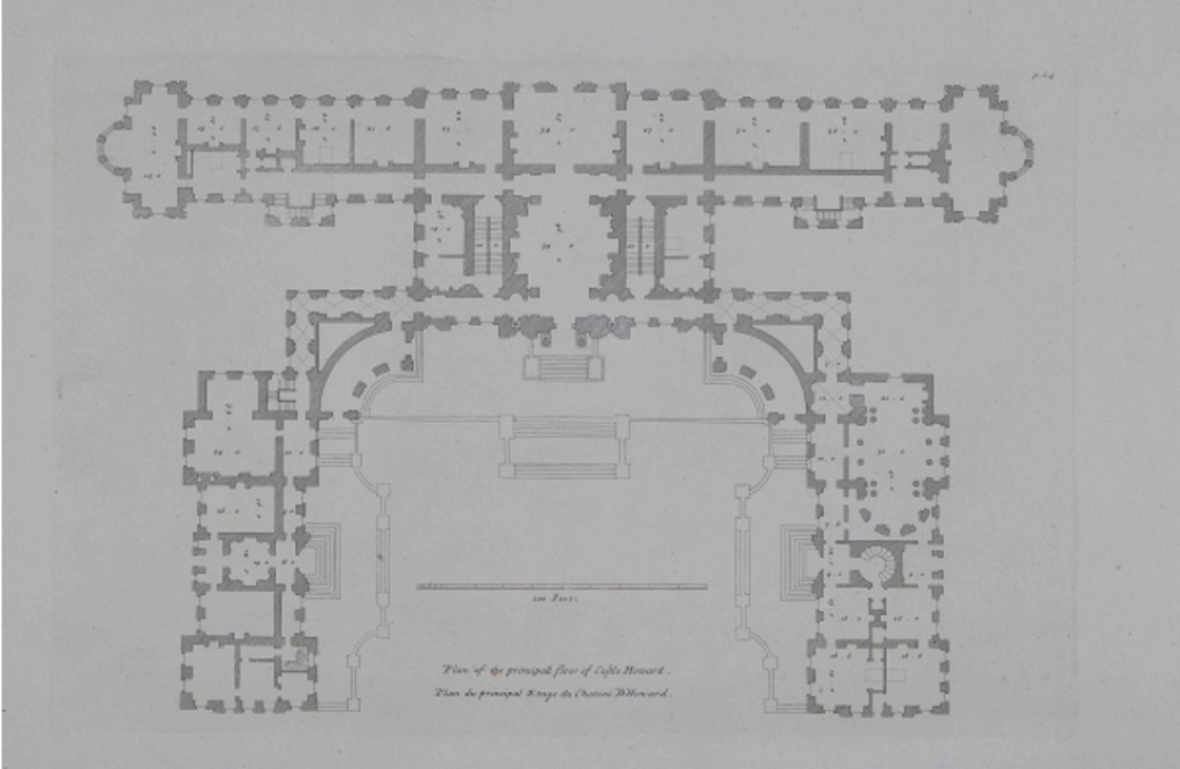 Floorplan of Castle Howard from Vitruvius Britannicus, 1715, showing the sequence of state rooms along the south front as planned by Vanbrugh
