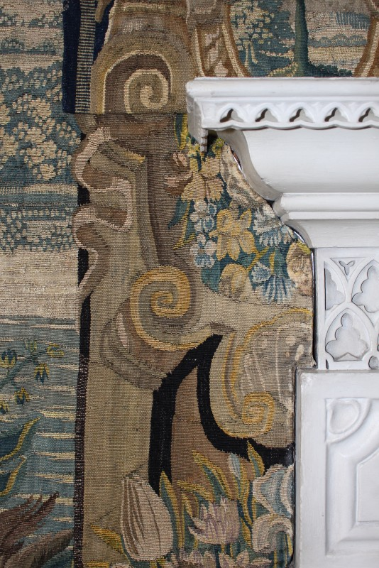 Detail of The Bagpiper tapestry in the Holly Bedroom, Doddington Hall